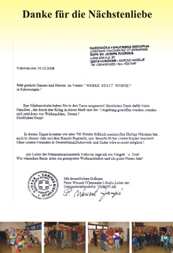 Dankbrief von Pater Wenzel