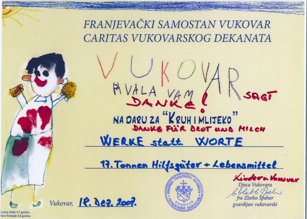 Die Kinder von Vukovar sagen Danke für Brot und Milch